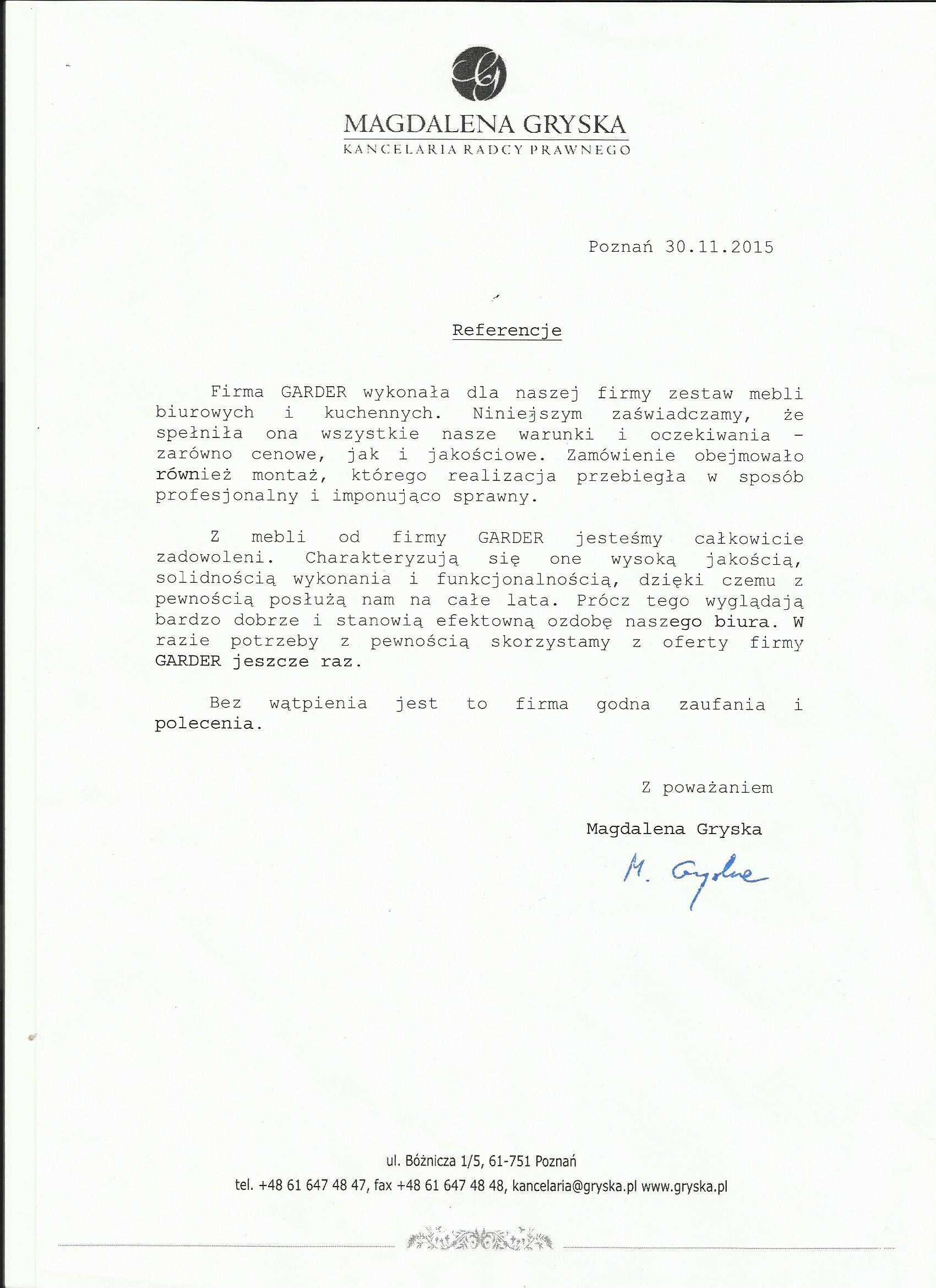Kancelaria Radcy Prawnego Magdalena Gryska