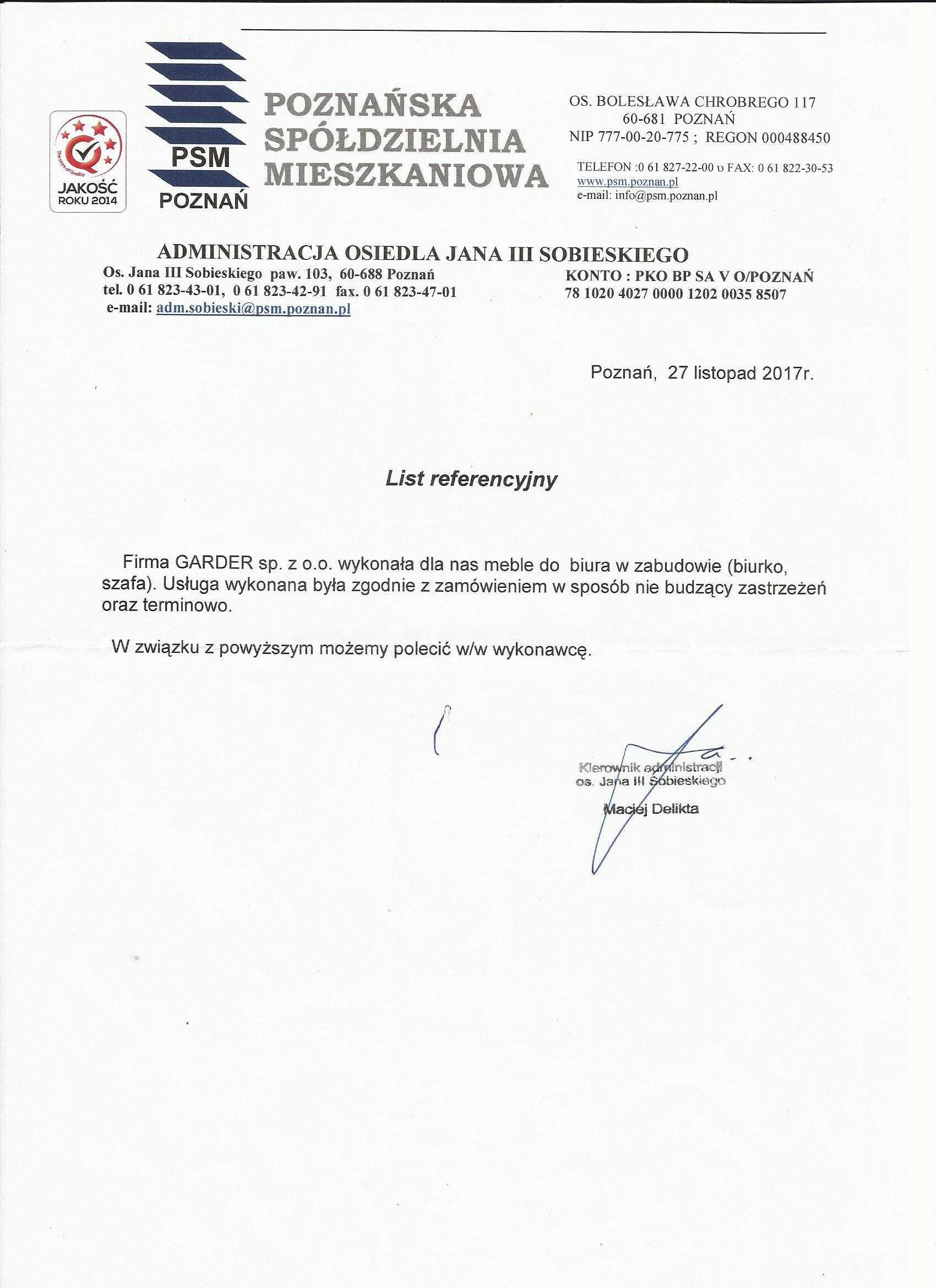 Poznańska Spółdzielnie Mieszkaniowa POZNAŃ